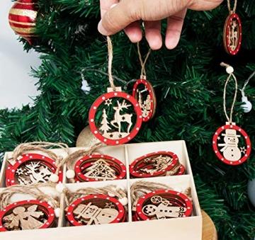 Sweelov 30tlg Holz Weihnachten Anhänger Rot Weihnachtsanhänger Doppelschicht Christbaumanhänger Hängeornamente Weihnachtsdeko, 6 Verschiedene Musters - 3