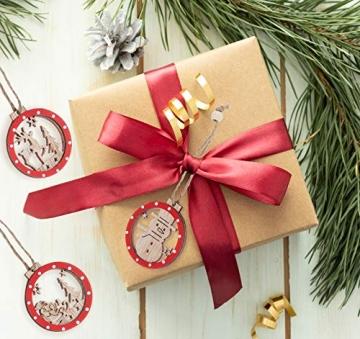 Sweelov 30tlg Holz Weihnachten Anhänger Rot Weihnachtsanhänger Doppelschicht Christbaumanhänger Hängeornamente Weihnachtsdeko, 6 Verschiedene Musters - 4