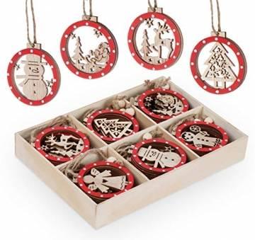 Sweelov 30tlg Holz Weihnachten Anhänger Rot Weihnachtsanhänger Doppelschicht Christbaumanhänger Hängeornamente Weihnachtsdeko, 6 Verschiedene Musters - 1