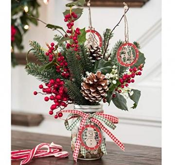 Sweelov 30tlg Holz Weihnachten Anhänger Rot Weihnachtsanhänger Doppelschicht Christbaumanhänger Hängeornamente Weihnachtsdeko, 6 Verschiedene Musters - 5