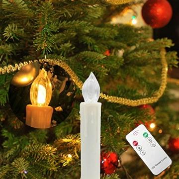 SZYSD 20Stk LED Weihnachtskerzen Kerzen Lichterkette Kabellos Christbaum Baumkerzen Warmweiß - 5
