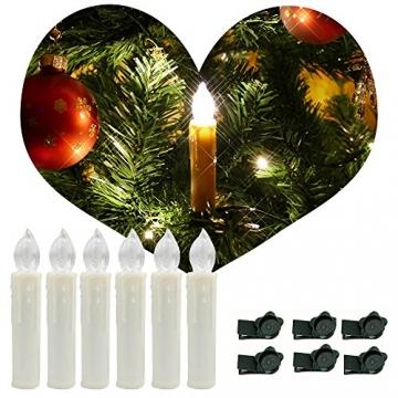 SZYSD 20Stk LED Weihnachtskerzen Kerzen Lichterkette Kabellos Christbaum Baumkerzen Warmweiß - 7