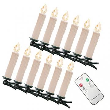 SZYSD 20Stk LED Weihnachtskerzen Kerzen Lichterkette Kabellos Christbaum Baumkerzen Warmweiß - 9