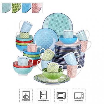 Tafelservice porzellan, vancasso Tafelservice bunt, MACARON 48 teilig Geschirrset , mit je 12 Speiseteller, Dessertteller, Müslischalen und Kaffeebecher für 12 Personen - 2
