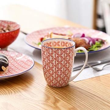 Tafelservice porzellan, vancasso Tafelservice bunt, MACARON 48 teilig Geschirrset , mit je 12 Speiseteller, Dessertteller, Müslischalen und Kaffeebecher für 12 Personen - 5