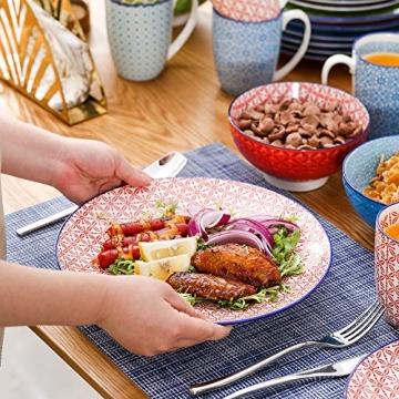 Tafelservice porzellan, vancasso Tafelservice bunt, MACARON 48 teilig Geschirrset , mit je 12 Speiseteller, Dessertteller, Müslischalen und Kaffeebecher für 12 Personen - 6