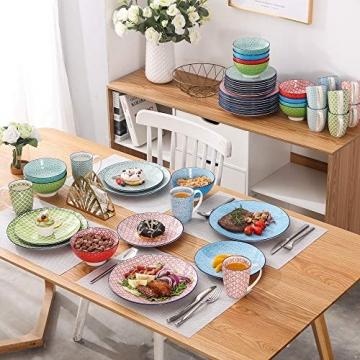 Tafelservice porzellan, vancasso Tafelservice bunt, MACARON 48 teilig Geschirrset , mit je 12 Speiseteller, Dessertteller, Müslischalen und Kaffeebecher für 12 Personen - 7