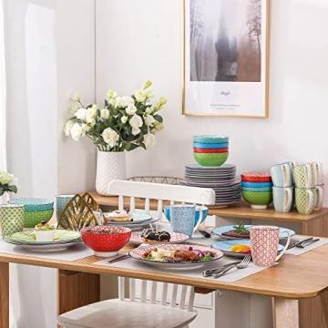 Tafelservice porzellan, vancasso Tafelservice bunt, MACARON 48 teilig Geschirrset , mit je 12 Speiseteller, Dessertteller, Müslischalen und Kaffeebecher für 12 Personen - 8