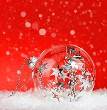 THE TWIDDLERS 15 Durchsichtige Weihnachtskugeln| Wiederverwendbar, Robust Plastik| DIY Basteln Selber Gestalten Basteln, Weihnachtskugeln zum Befüllen Christbaumschmuck Weihnachtsdeko. - 2