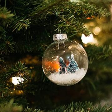 THE TWIDDLERS 15 Durchsichtige Weihnachtskugeln| Wiederverwendbar, Robust Plastik| DIY Basteln Selber Gestalten Basteln, Weihnachtskugeln zum Befüllen Christbaumschmuck Weihnachtsdeko. - 4