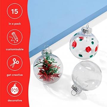 THE TWIDDLERS 15 Durchsichtige Weihnachtskugeln| Wiederverwendbar, Robust Plastik| DIY Basteln Selber Gestalten Basteln, Weihnachtskugeln zum Befüllen Christbaumschmuck Weihnachtsdeko. - 5