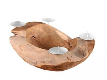 Trendy Home GmbH Teak Adventskranz Wurzelschale Holzschale Obstschale Schale massiv rund circa 35 cm Dekoschale, Braun, 35cm - 5