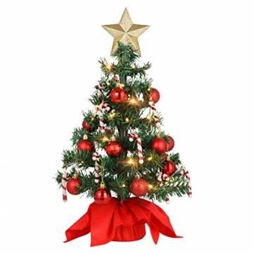 VALICLUD Künstlicher Mini-Weihnachtsbaum mit Ornamenten und LEDs, 53 cm - 1