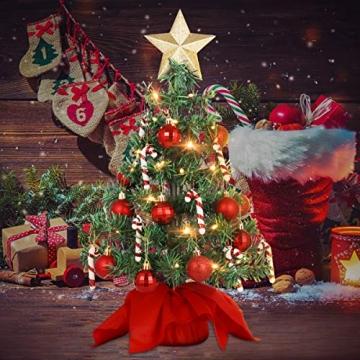 VALICLUD Künstlicher Mini-Weihnachtsbaum mit Ornamenten und LEDs, 53 cm - 2