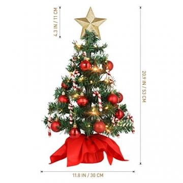 VALICLUD Künstlicher Mini-Weihnachtsbaum mit Ornamenten und LEDs, 53 cm - 3