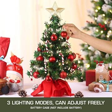 VALICLUD Künstlicher Mini-Weihnachtsbaum mit Ornamenten und LEDs, 53 cm - 4
