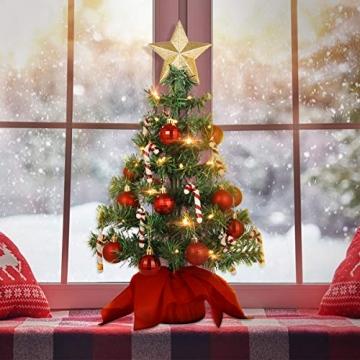 VALICLUD Künstlicher Mini-Weihnachtsbaum mit Ornamenten und LEDs, 53 cm - 6