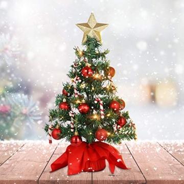 VALICLUD Künstlicher Mini-Weihnachtsbaum mit Ornamenten und LEDs, 53 cm - 7