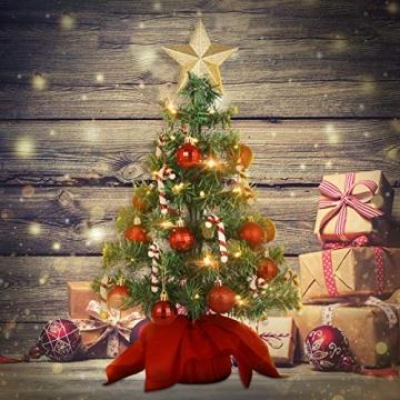 VALICLUD Künstlicher Mini-Weihnachtsbaum mit Ornamenten und LEDs, 53 cm - 8