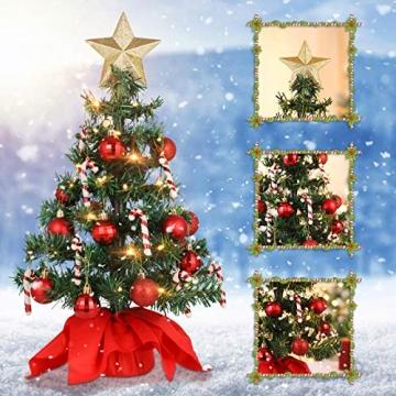 VALICLUD Künstlicher Mini-Weihnachtsbaum mit Ornamenten und LEDs, 53 cm - 9
