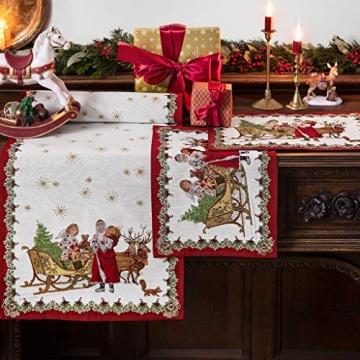 Villeroy & Boch - Toy's Fantasy Gobelin Läufer XL, Tischläufer mit weihnachtlichen Ornamenten aus Baumwolle und Polyester, bunt, 49 x 143 cm - 2