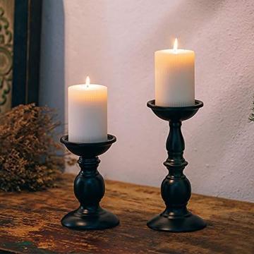 VINCIGANT Retro Kerzenhalter 2 Set In Unterschiedlicher Größe, 22/16cm Antik Kerzenständer Eisen Deko Kerzenleuchter Für Stumpenkerzen, Vintage Tischdeko Hochzeit Für Weihnachten Geburtstag.Mehrweg - 2