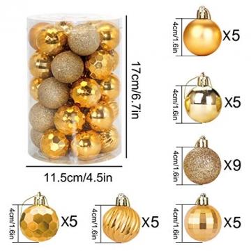Weihnachtskugeln 34, Gold Weihnachtsbaumkugeln Kunststoff Weihnachtsbaum Kugeln Deko für Weihnachtsbaumschmuck, Bruchsichere Christbaumkugeln Christbaumschmuck Weihnachtsdeko für Weihnachten 4cm - 2
