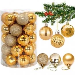 Weihnachtskugeln 34, Gold Weihnachtsbaumkugeln Kunststoff Weihnachtsbaum Kugeln Deko für Weihnachtsbaumschmuck, Bruchsichere Christbaumkugeln Christbaumschmuck Weihnachtsdeko für Weihnachten 4cm - 1