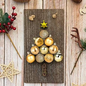 Weihnachtskugeln 34, Gold Weihnachtsbaumkugeln Kunststoff Weihnachtsbaum Kugeln Deko für Weihnachtsbaumschmuck, Bruchsichere Christbaumkugeln Christbaumschmuck Weihnachtsdeko für Weihnachten 4cm - 4