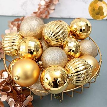 Weihnachtskugeln 34, Gold Weihnachtsbaumkugeln Kunststoff Weihnachtsbaum Kugeln Deko für Weihnachtsbaumschmuck, Bruchsichere Christbaumkugeln Christbaumschmuck Weihnachtsdeko für Weihnachten 4cm - 6