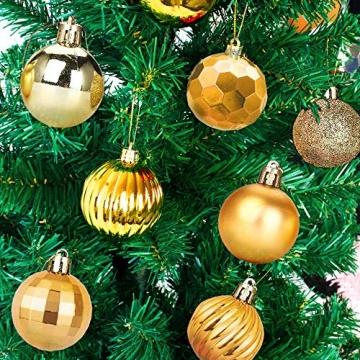 Weihnachtskugeln 34, Gold Weihnachtsbaumkugeln Kunststoff Weihnachtsbaum Kugeln Deko für Weihnachtsbaumschmuck, Bruchsichere Christbaumkugeln Christbaumschmuck Weihnachtsdeko für Weihnachten 4cm - 7