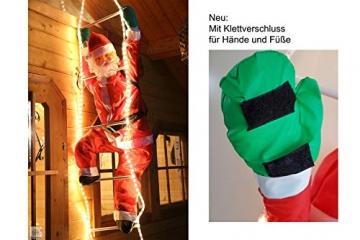 Weihnachtsmann auf Leiter 120/200cm mit LED beleuchtet innen/außen von Gartenpirat® - 3