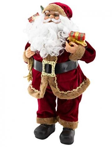 Weihnachtsmann Figur hochwertig mit Geschenken 60cm weinrot Samt-Optik Deko Nikolaus Santa Claus Dekofigur Weihnachtsdeko detailreich - 2