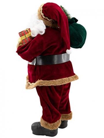 Weihnachtsmann Figur hochwertig mit Geschenken 60cm weinrot Samt-Optik Deko Nikolaus Santa Claus Dekofigur Weihnachtsdeko detailreich - 3