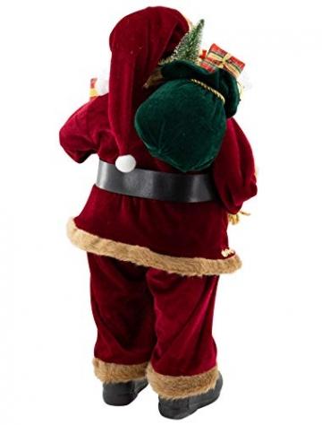 Weihnachtsmann Figur hochwertig mit Geschenken 60cm weinrot Samt-Optik Deko Nikolaus Santa Claus Dekofigur Weihnachtsdeko detailreich - 4