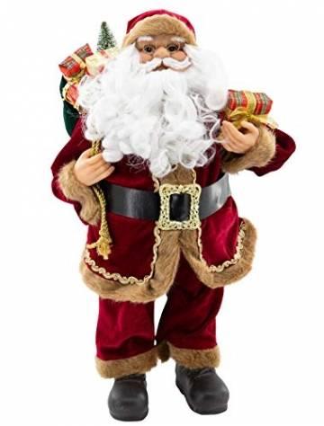 Weihnachtsmann Figur hochwertig mit Geschenken 60cm weinrot Samt-Optik Deko Nikolaus Santa Claus Dekofigur Weihnachtsdeko detailreich - 1
