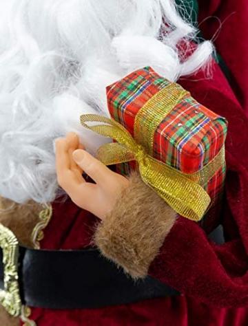 Weihnachtsmann Figur hochwertig mit Geschenken 60cm weinrot Samt-Optik Deko Nikolaus Santa Claus Dekofigur Weihnachtsdeko detailreich - 5