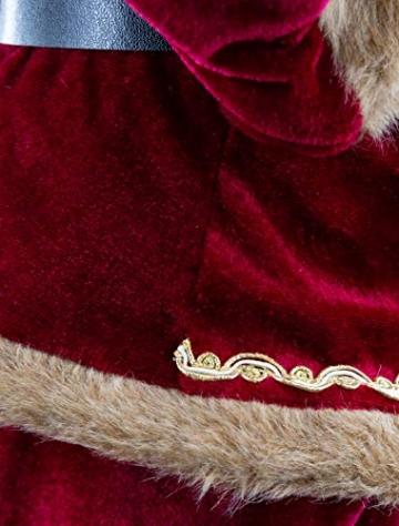 Weihnachtsmann Figur hochwertig mit Geschenken 60cm weinrot Samt-Optik Deko Nikolaus Santa Claus Dekofigur Weihnachtsdeko detailreich - 7