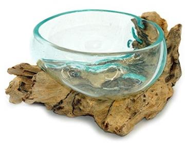 Wurzel mit Glasschale klein Schale Dekoschale Glas auf Holz Durchmesser 12-13 cm Holzdeko Teakholz Deko (Wurzel 17-20 cm) - 6