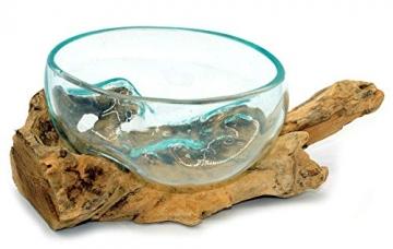Wurzel mit Glasschale klein Schale Dekoschale Glas auf Holz Durchmesser 12-13 cm Holzdeko Teakholz Deko (Wurzel 17-20 cm) - 7