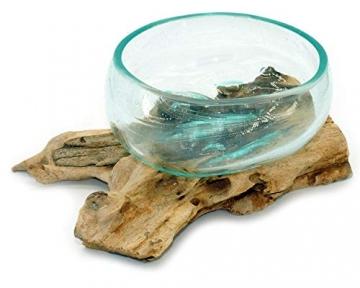 Wurzel mit Glasschale klein Schale Dekoschale Glas auf Holz Durchmesser 12-13 cm Holzdeko Teakholz Deko (Wurzel 17-20 cm) - 9