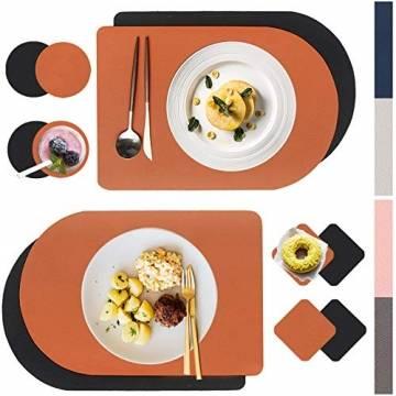 X SIM FITNESSX 2 Farbe per Tischset PVC Leder Platzset abwaschbar Platzdeckchen Wasserdicht Abwischbare 4 Tischset+8 Glasuntersetzer für Hause Küche Restaurant Hotel Hochzeit Weihnachten - 1