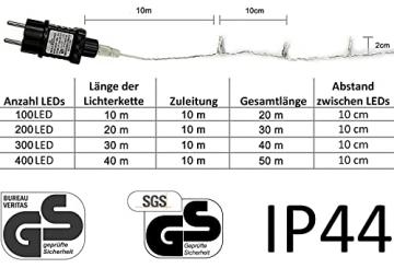 100/200/300/400er Led Lichterkette Strombetrieben mit Stecker Außen und Innen für Garten Hochzeit Weihnachten Party Warmweiß Gresonic (Warmweiss, 200LED) - 3