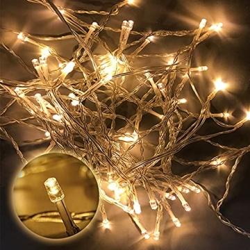 100/200/300/400er Led Lichterkette Strombetrieben mit Stecker Außen und Innen für Garten Hochzeit Weihnachten Party Warmweiß Gresonic (Warmweiss, 200LED) - 4