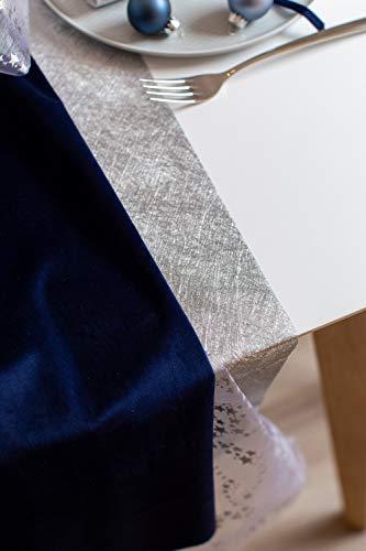 100% Mosel Tischläufer Metallic, in Silber (30 cm x 10 m), Tischband aus Polyester Vliesstoff, edle Tischdeko für Weihnachten & Hochzeiten, festliche Dekoration zu besonderen Anlässen - 2