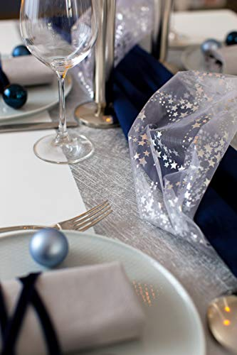 100% Mosel Tischläufer Metallic, in Silber (30 cm x 10 m), Tischband aus Polyester Vliesstoff, edle Tischdeko für Weihnachten & Hochzeiten, festliche Dekoration zu besonderen Anlässen - 3