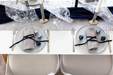 100% Mosel Tischläufer Metallic, in Silber (30 cm x 10 m), Tischband aus Polyester Vliesstoff, edle Tischdeko für Weihnachten & Hochzeiten, festliche Dekoration zu besonderen Anlässen - 4