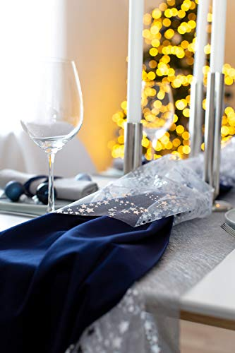 100% Mosel Tischläufer Metallic, in Silber (30 cm x 10 m), Tischband aus Polyester Vliesstoff, edle Tischdeko für Weihnachten & Hochzeiten, festliche Dekoration zu besonderen Anlässen - 5