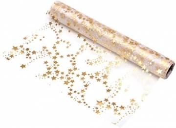 100% Mosel Tischläufer Sterne, in Gold/Metallic (28 cm x 10 m), Tischband aus Organza, edle Tischdeko für Weihnachten & Adventszeit, festliche Dekoration zu besonderen Anlässen - 1