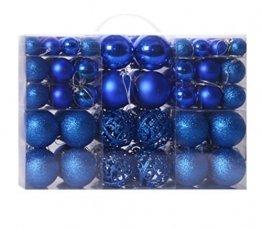 100 Stück Weihnachtskugeln, Weihnachtsbaumdekoration, 3 – 6 cm, leichte Kugel, matte Kugel, rosa Kugel hohl (blau) - 1
